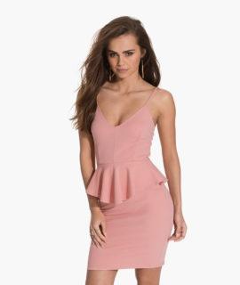 Vaaleanpunainen Peplum-mekko